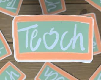 Chalkboard Teach Sticker | Teacher sticker, apple, sticker for laptop, water bottle