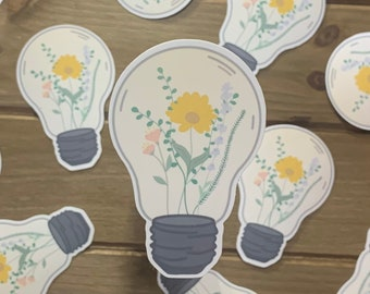 Floral Light Bulb Sticker | Floral sticker, lavender, flower, light, sticker for laptop, water bottle