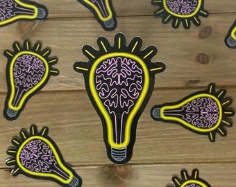 Bright Idea Sticker | Neuroscience sticker, brain, light bulb, sticker for laptop, water bottle
