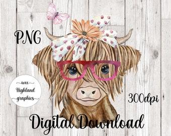 Highland Cow PNG | Sublimation | Digital download | Digital File | PNG