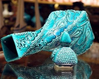 Handmade Turkish Ceramic Vase, Decorative Pottery Vase Turquoise Porcelain Patterned Lidded Trinket