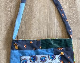 Upcycled Vintage Patchwork Grateful Dancing Bears and Mushroom Bag