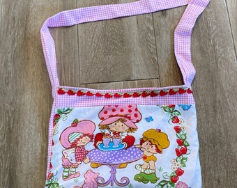 Vintage Upcycled Strawberry Shortcake Diaper Bag Pink Gingham