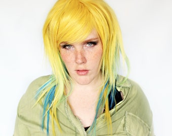 Long yellow wig, straight yellow green wig, scene wig, cosplay wig, blue wig -- Pineapple Pear Fizz