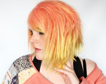 Orange yellow wig, straight orange wig, short orange wig -- Electric Peaches