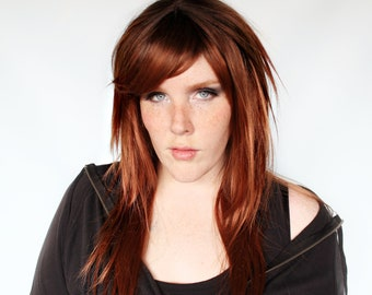Long auburn red wig, brown red wig, reddish wig, straight red wig -- Ginger Bark