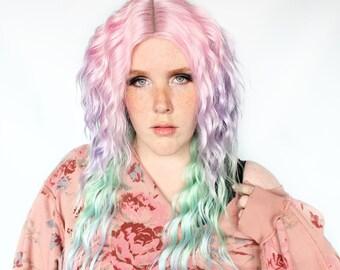 Pastel rainbow wig, lace front wig, wavy wig, long rainbow wig, festival hair wig, pastel hair, long rainbow wig -- Unicorn Fairytale