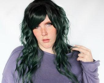 Long green wig, dark green wig, wavy green wig with bangs -- Evergreen Depths