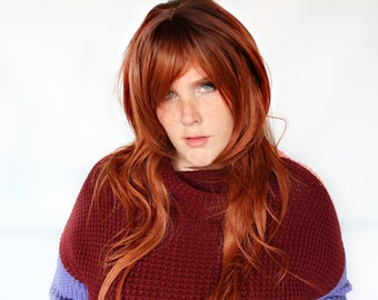 Long auburn red wig, wavy red wig, ginger wig, redhead wig -- Spiced Sass