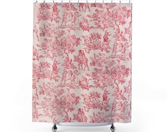 Red and Ivory Toile Shower Curtain, Vintage design, Mid-Century fabric shower curtain