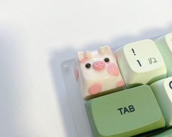 Strawberry Cow Keycap | Artisan Keycap | Cute Keycap
