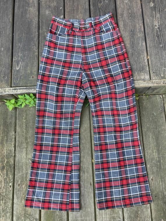 70s bell bottom pants/90s plaid bell bottom pants/