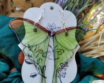 Luna Moth Wing Earrings