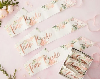 TEAM BRIDE Sashes 6 Pack | Sash | Sash | JGA | Team Bride | Stag and hen party | Party Accessories
