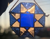 Geometric Stained Glass window hanging