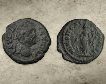 Septimius Severus Coin, Nikopolis, Moesia, 193-211 AD, AE 18mm, 2.5g, Bust of Emperor & Tyche w/ Rudder - Real Roman Coin