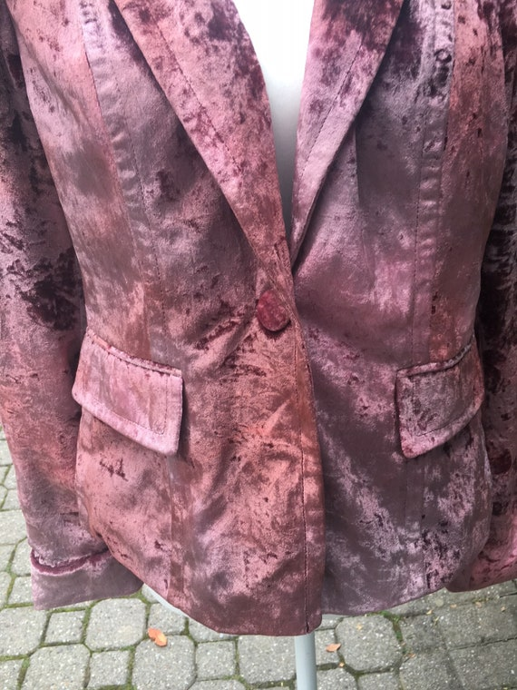 Crushed Red Velvet Blazer Crushed Velvet Blazer 1… - image 5