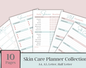 Daily, Weekly, Monthly Skin care Planner Collection, Mani-Pedi checklist, Self care planner, Beauty Planner