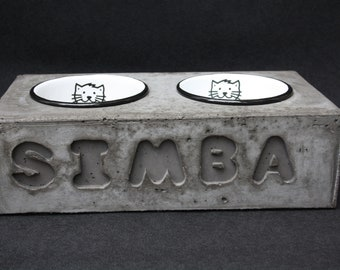 Cat bowl, feeding station, feeding bowl, concrete, personalized