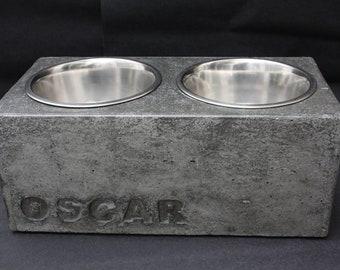 Dog bowl, feeding station, feeding bowl, concrete, personalized, double, food bowl dog