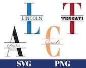 Split Monogram SVG PNG, Digital Download for Cricut, Glowforge, Silhouette, 26 svg png files