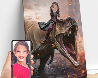 Girl Riding T-Rex Dinosaur | Custom Child Portrait From Photo | Gifts for Kids