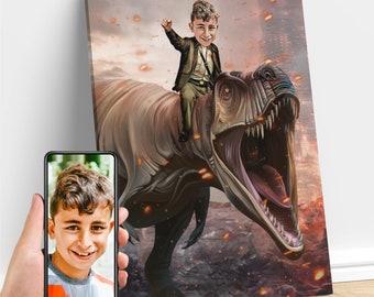 Personalized Boy T-Rex Jurassic Dinosaur Art, Custom Portrait From Photo, Dinosaur Birthday, Dinosaur Party, Birthday Gifts for Kids/Adults