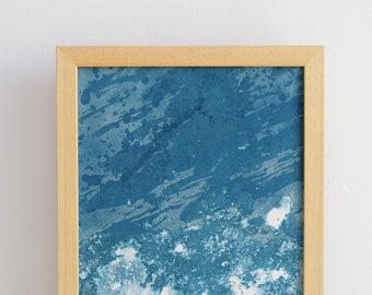 "Original artwork, ""Ocean"" #223, original cyanotype, cyanotype print, handmade, one-piece, frameless"