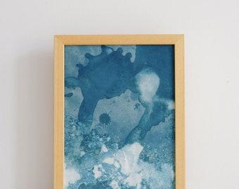 "Original artwork, ""Ocean"" #226, original cyanotype, cyanotype print, handmade, one-piece, frameless"