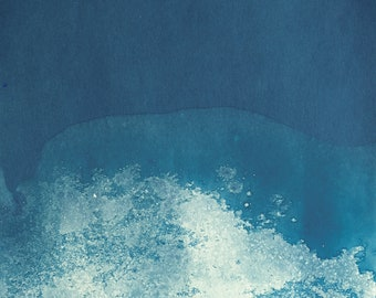 "Original artwork, ""Ocean"" #213, original cyanotype, cyanotype print, handmade, one-piece, frameless"