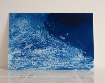 "Original artwork, ""Ocean"" #203, original cyanotype, cyanotype print, handmade, one-piece, frameless"