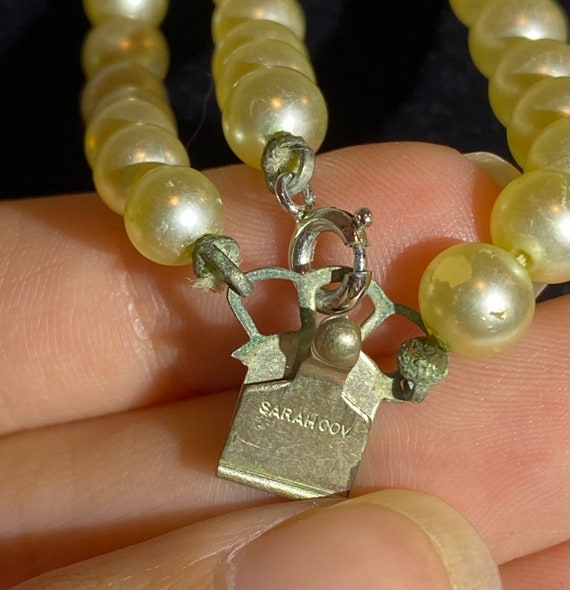 Sarah Coventry Pearl necklace- Faux Pearl and Rhi… - image 3