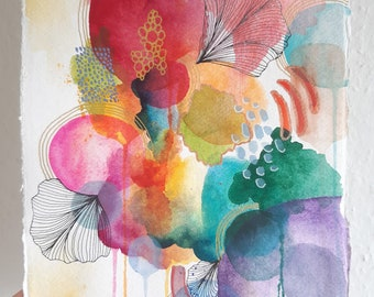 Original Abstract Watercolour Painting | 30 x 21 cm  A4 | Signed Artwork on Paper | Colourful Painting