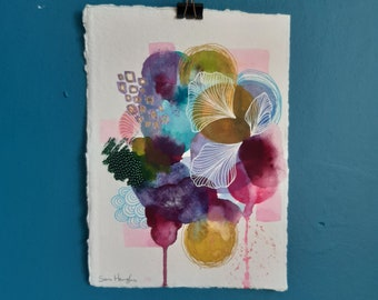 RESERVED Original Abstract Watercolour Painting | 21 x 15 cm | Small Signed Artwork on Paper | Colourful Painting