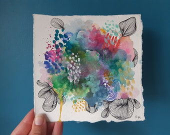 Original Abstract Watercolour Painting | 15 x 15 cm | Small Signed Artwork on Paper | Colourful Painting
