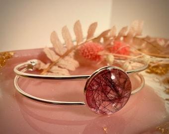 Memorial cuff bracelet hair or ashes resin