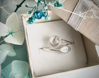 Sterling silver memorial ring ashes or hair adjustable leaf design