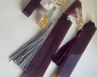 Chunky letter keyrings and bookmark gift set purple and gold resin