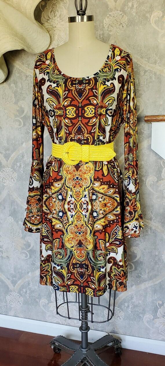 Plus Size Brown/Orange Floral Pattern Tunic Style
