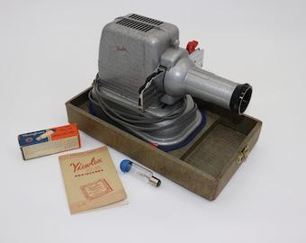 Vintage 1950s Viewlex Slide Projector V-33 with Case, Bulb & Manual WORKS