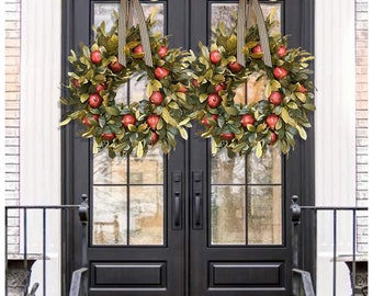 Halloween front door plastic wreath autumn wreath Halloween decorations Halloween porch decoration pomegranate and leaf wreath