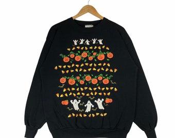 Vintage Happy Halloween Pumpkins Ghost Crewneck Sweatshirt Pullover