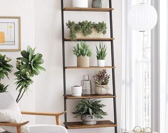 5-Tier Ladder Shelf Leaning Shelf