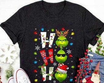 Grinch Ho Ho Ho Shirt, Cute Christmas Vacation Shirt, Christmas Shirt, Christmas Gifts, Snowflake Shirt, Santa Hat Shirt, Merry Christmas
