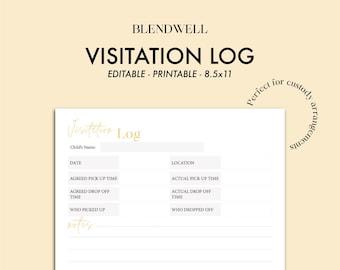 Visitation log, visitation log for custody arrangements PDF, custody schedule visitation log for documentation for courts