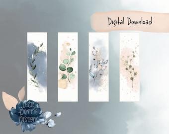 Watercolour Floral Bookmarks, Printable Bookmarks, Digital Download