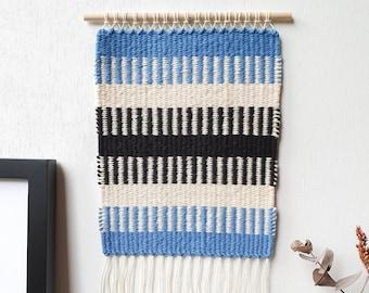 Krokbragd Blue - Small Handwoven Artwork | Wall Hanging | Natural Fibre Art | Geometric Design