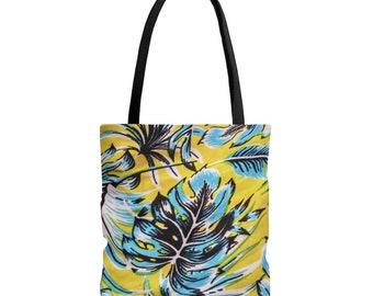 Leaves Tote Bag, AOP Tote Bag, Summer Tote Bag, Shoulder Bag, Grocery Bag, Reusable Bag, Tote Bags for Women, Artist Tote Bag, Women Gifts