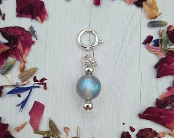 Labradorite Crystal Charm for Necklace, Bracelet, Anklet    gemstone Christmas gift present silver small charm pretty jewellery