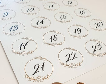 Advent Calendar Numbers Stickers